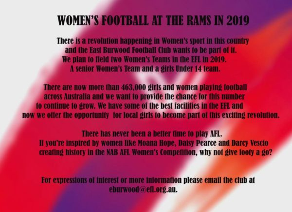 Womens Football at the RAMS in 2019
