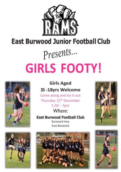 Girls footy trial night