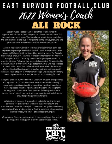 2022 Coach Announcement Ali Rock EBFC