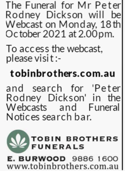Peter Dickson Funeral Notice